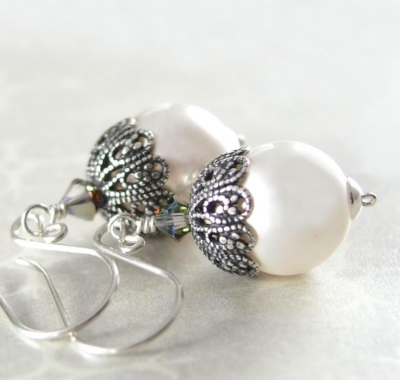 White Pearl Earrings Swarovski White Crystal Pearl Earrings Sterling Silver Antique Silver Filigree Earrings
