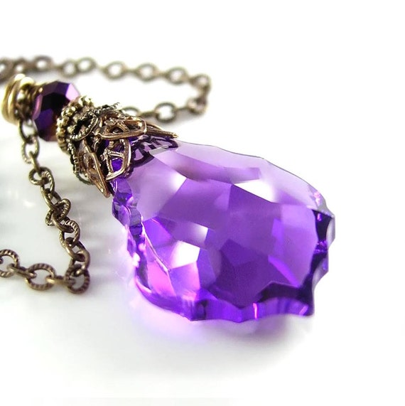Violet Purple Pendant Necklace Swarovski Royal Purple Crystal Necklace Amethyst Purple Vintage Style Antique Gold Brass Necklace