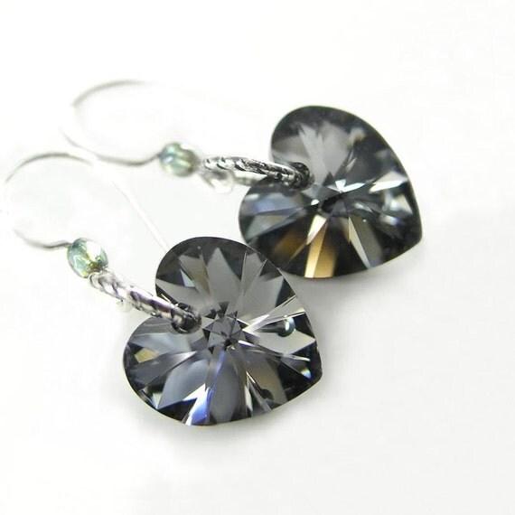 Platinum Gray Heart Earrings Aurora Swarovski Dark Grey Crystal Heart Dangle Earrings Satin Grey Heart Earrings