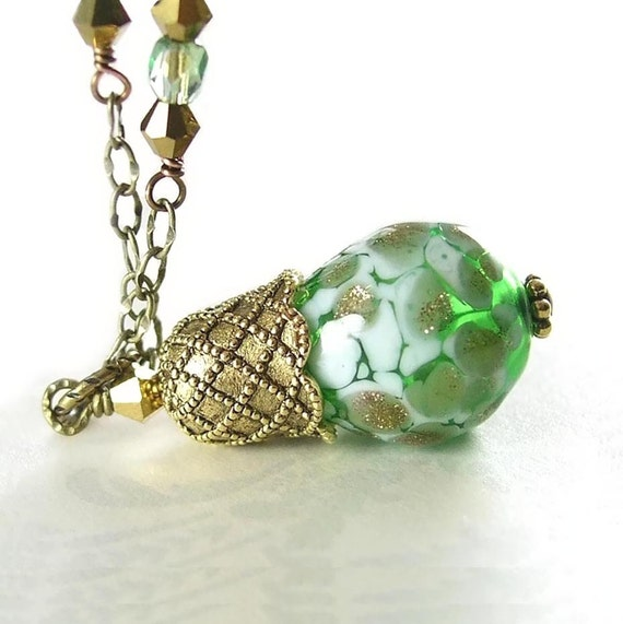 Green Necklace Hand Blown Apple Green Lampwork Hollow Glass Pendant Necklace Antique Gold Necklace