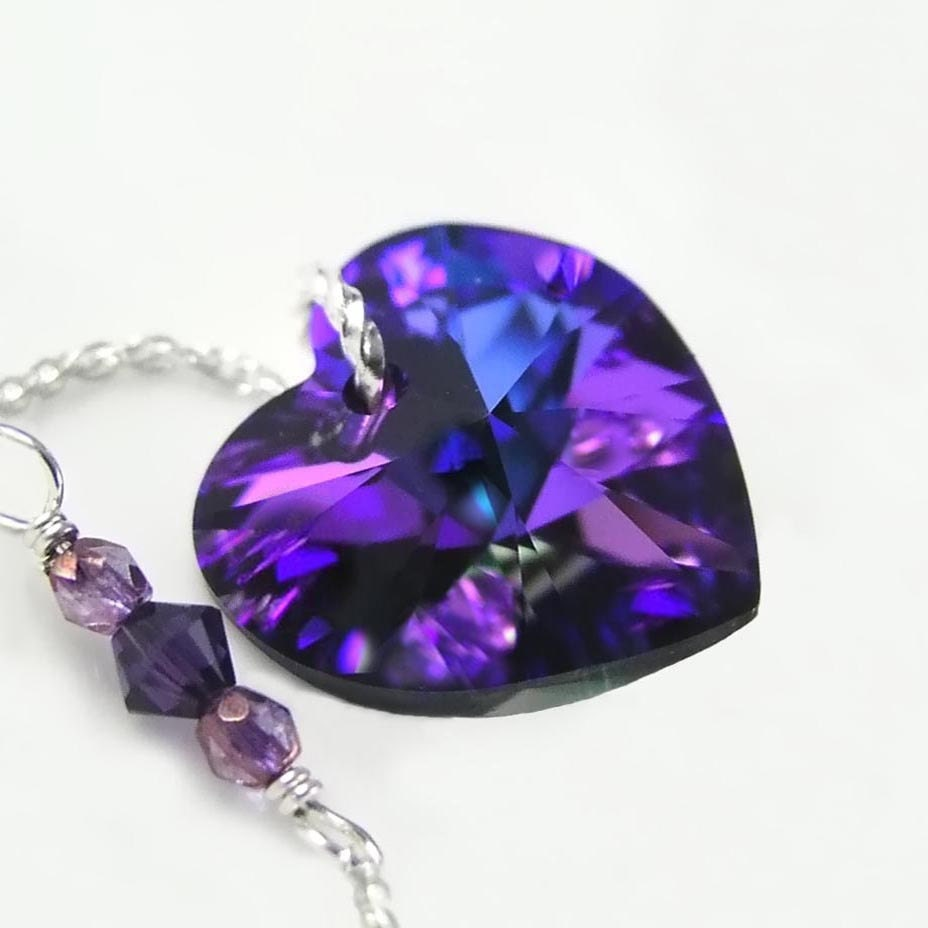 Purple Swarovski Heart Necklace Sterling Silver Dark Purple