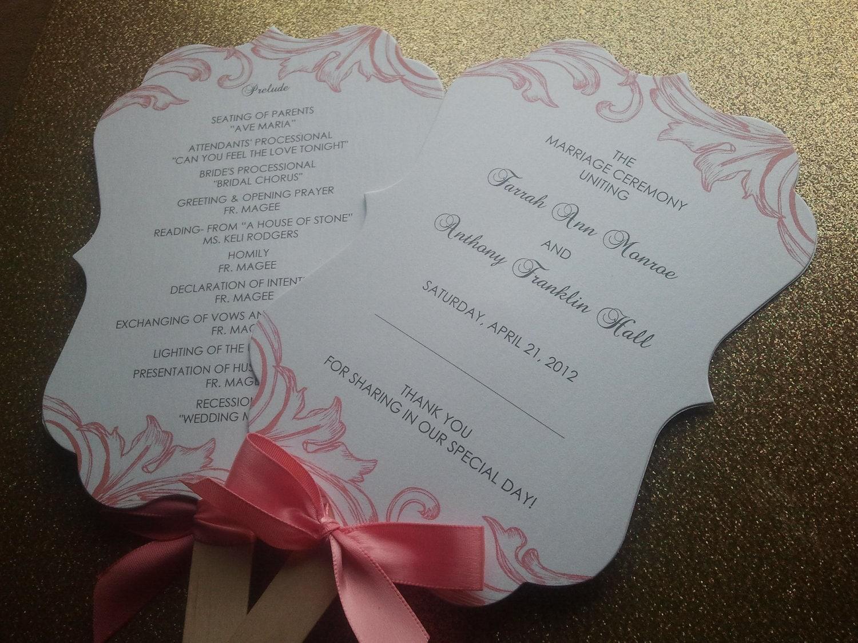 Sweet Romance Fan Wedding Program Set of 50 by theinspirednote