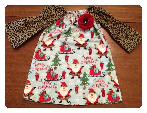 SALE--Ready-To-Ship--Christmas Peasant Dress: 18-24 Mos