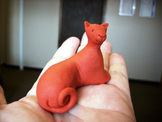 On Hold For Amy... Sinopia - Polymer Clay Cat Sculpture