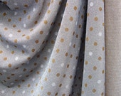 RESERVED Vintage Silver Lame Sparkly Fabric with White and Gold Polka Dots, 1 Yard (2.5 yards available)