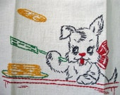 Vintage Embroidered Towel, Scotty Dog Flipping Golden Pancakes
