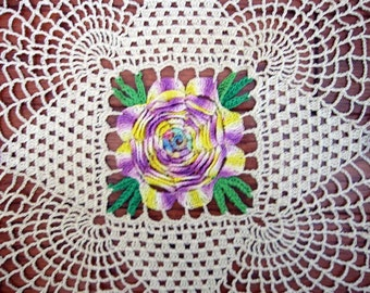 Vintage Doily IRISH ROSE Purple Lavender Green Ivory 14 inches Square