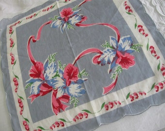 Vintage Hankie Orchids with Scalloped, Rolled Hem, Grey Gray Blue Red Pink 1940s
