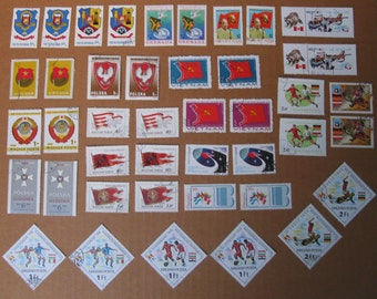 42 Colorful FLAGS, Shields, and Coat of Arms Postage Stamps - STAMP SPECIAL: Any 3 sets for 12 Dollars