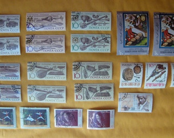 22 Postage Stamps MUSICAL Instruments, Composers, Dancers 1960s - 1990s STAMP SPECIAL: Any 3 sets for 12 Dollars