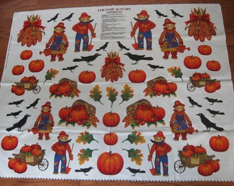 Country Autumn Appliques by VIP Cranston Print Works, Pumpkins Crows Scarecrows 35 x 45 inches, Fall Fabric, Autumn, Thanksgiving Material