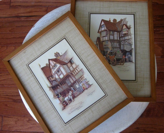 2 Vintage Danish Modern Wood Frames With Anne Croft Prints