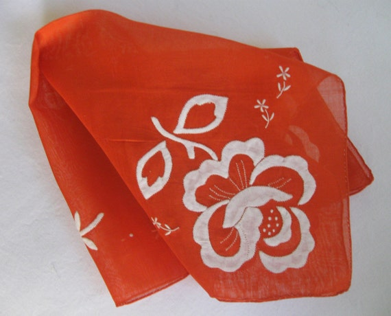 Bright Vintage Hankie with Floral Applique and Embroidery, Hand Rolled Hem