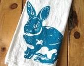 Screen Printed Organic Cotton Rabbit Flour Sack Tea Towel - Eco Friendly and Awesome Hand Towel - Easter Bunny