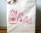 Screen Printed Recycled Cotton Shopper Tote - Reusable - Lightweight Canvas Tote Bag - Eco Friendly - Nesting Dolls Illustration