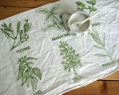 Tea Towel - Screen Printed Organic Cotton List of Herbs Flour Sack Towel - Awesome Kitchen Towel for Dishes