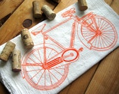 Screen Printed Organic Cotton Bicycle Flour Sack Towel - Awesome Tea Towel for Dishes