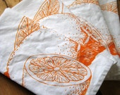 Screen Printed Organic Cotton Citrus Cloth Napkins - Dinner Napkins