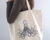 Screen Printed Reusable Recycled Cotton Canvas Tote Bag - Grocery Shopper Tote - Eco Friendly - Nautical Octopus