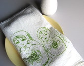 Screen Printed Organic Cotton Nesting Dolls Flour Sack Towel - Soft and Absorbent Kitchen Dish Towel - Eco Friendly