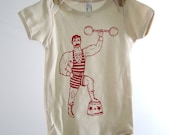 Organic Baby One Piece - Screen Printed Baby Clothing - Vintage Circus Strong Man - American Apparel Baby Bodysuit - Infant One Piece - Baby