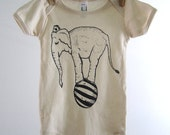 Organic Baby One Piece - Screen Printed Baby Bodysuit - American Apparel - Organic Baby Clothes - Infant One Piece - Circus - Elephant