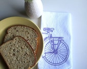 Screen Printed Organic Cotton Bicycle Cloth Napkins -  Eco Friendly Dinner Napkins - Road Bike Illustration - Reusable and Washable