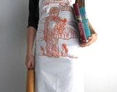 Screen Printed Apron - Natural Cotton Twill - Sasquatch Illustration - Eco Friendly - Awesome Kitchen Apron