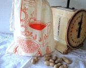 Screen Printed Reusable Natural Cotton Bag - Eco Friendly - Snack Bag - Produce Bag
