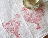 Screen Printed Organic Cotton Flour Sack Tea Towel - Chicken and Rooster Illustration- Eco Friendly Hand Towel for Every Day