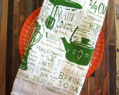 Screen Printed Flour Sack Towel - Tea Towel - Eco Friendly Dish Towel - Natural Cotton Kitchen Towel - Handmade - Vintage Kitchen - Towel