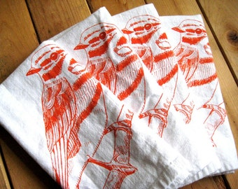 Eco Friendly Dinner Napkins - Screen Printed Cloth Napkins - Woodland Bird - Handmade Cotton Cloth Napkins - Table - Put A Bird On It