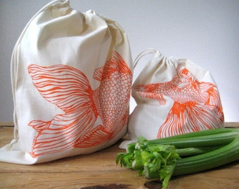 Reusable Cotton Produce Bags - Screen Printed Natural Cotton Produce Bags - Reusable and Washable - Eco Friendly - Grocery Bags - Goldfish