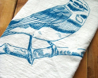Tea Towel - Screen Printed Flour Sack Towel - Eco Friendly Cotton Towel - Dish Towel - Blue Bird - Handmade - Classic Flour Sack Towel