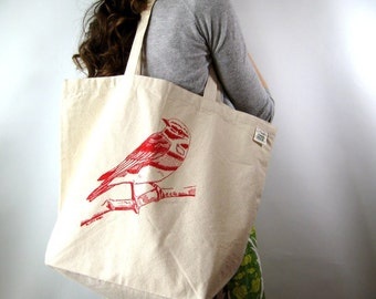 Large Tote Bag - Screen Printed - Grocery Tote Bag - Shopper Tote - Reusable Canvas Tote Bag - Everyday Tote - Bird - Mothers Day Gift