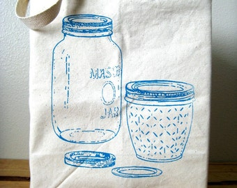 Reusable Recycled Cotton Grocery Shopper Tote - Market Tote - Large Canvas Tote Bag - Eco Friendly - Screenprint - Mason Jar Illustration