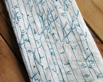 Tea Towel - Screen Printed Flour Sack Towel - Absorbent Dish Towel - Handmade Kitchen Towel - Birch Tree - Natural Cotton - Flour Sack Towel