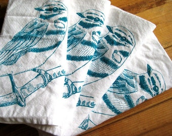 Cloth Napkins - Screen Printed Cotton Cloth Napkins - Eco Friendly Dinner Napkins - Woodland Bird - Handmade Cloth Napkins - Natural Cotton