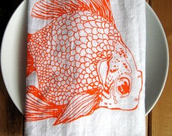 Cloth Napkins - Screen Printed Cloth Napkins - Eco Friendly Dinner Napkins - Table Setting - Goldfish - Handmade - Nautical - Cotton Cloth
