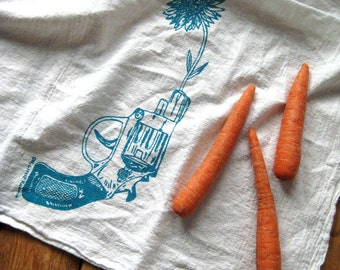 Tea Towel - Screen Printed Flour Sack Towel - Kitchen Towels - Revolver and Daisy - Dish Towels - Christmas Tea Towels - Hostess Gift