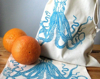 Produce Bags - Screen Printed - Natural Cotton Produce Bags - Eco Friendly - Reusable - Farmers Market Tote - Bulk Bin Bags - Bulk Bags