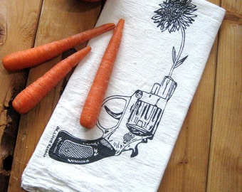 Tea Towel - Screen Printed Flour Sack Towel - Revolver and Daisy - Eco Friendly Cotton Towel - Classic Flour Sack Towel - Kitchen Towel