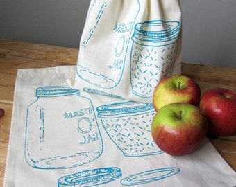 Produce Bags - Grocery Bags - Screen Printed - Reusable and Washable - Natural Cotton Produce Bags - Eco Friendly - Handmade - Mason Jar