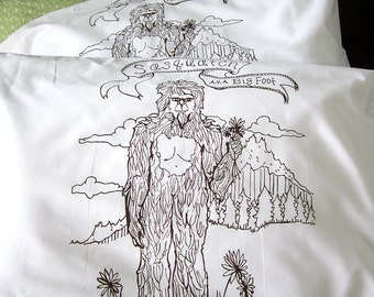 Screen Printed Sasquatch Pillow Cases (set of 2 standard) - Eco Friendly and Awesome - Big Foot