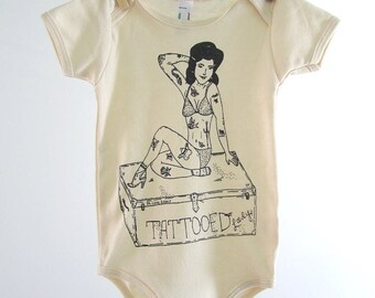 Screen Printed Baby One Piece - Organic Cotton Baby Shirt - American Apparel Baby Bodysuit - Tattooed Lady - Organic Baby Clothes - Infant