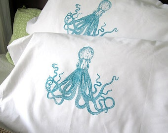 Screen Printed Octopus Pillow Cases - Set of 2 Standard Sized Pillow Covers - Eco Friendly Bedding
