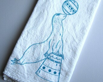 Tea Towel - Screen Printed Flour Sack Towel - Handmade Kitchen Towel - Vintage Circus - Seal - Dish Towel - Eco Friendly Natural Cotton