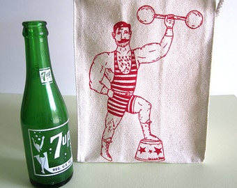 Reusable Lunch Bag - Screen Printed Recycled Cotton Lunch Bag - Eco Friendly Lunch Box - Vintage Circus Side Show - Strong Man - Canvas Tote