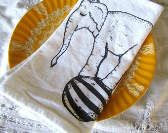 Cloth Napkins - Screen Printed Organic Cotton Cloth Napkins - Eco Friendly - Circus Elephant - Dinner Napkins - Handmade Cotton Napkins