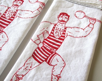 Cloth Napkins - Screen Printed Cloth Napkins - Eco Friendly Cotton Cloth Napkins - Vintage Circus Strong Man - Handmade Napkins - Reusable